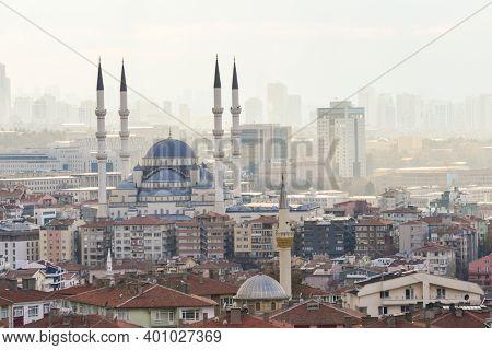 Ankara cityscape in a foggy winter day - Ankara, Turkey