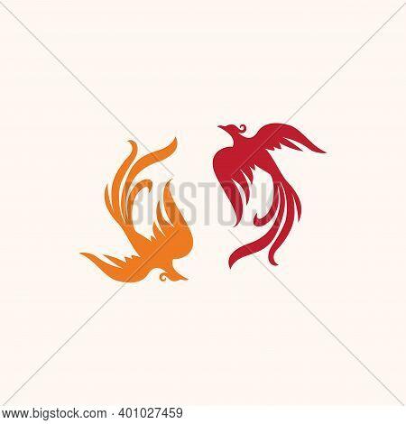 Two Couple Dancing Phoenix Vector Logo Design Template