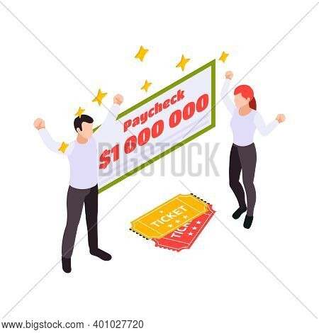 Lottery Isometric With Lottery Tickets And Gambling Symbols Vector Illustration