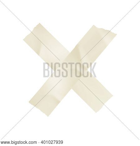 Sticky Adhesive Tape Cross Realistic With Tape Of White Colors Vector Illustration