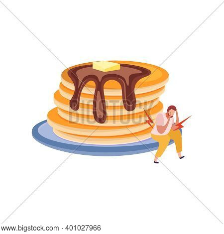 Plate With Pancakes And Man With Gluten Intolerance Feeling Sick Flat Vector Illustration