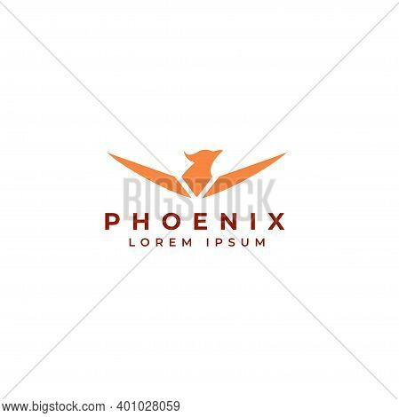 Phoenix Flying Fire Bird Vector Abstract Logo Icon Design Template