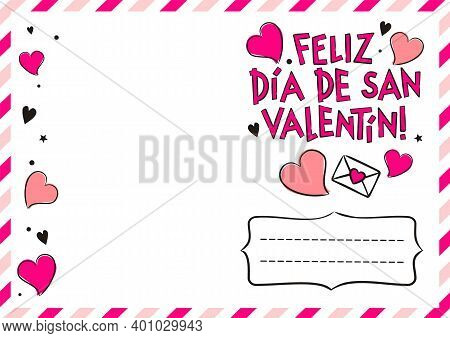 Spanish Happy Valentine's Day Postcard With Hearts And Gift Boxes. Cute Greeting Card. Hand Drawn Ai