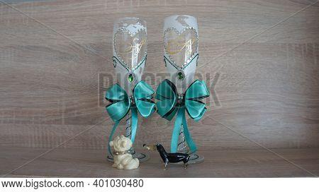 Festive Glasses, Wedding Glasses, Two Glasses, Glasses For Two