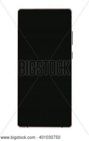 SURGUT, KHANTY- MANSIYSKIY AVTONOMNYY OKRUG, RUSSIA - DECEMBER 27, 2020: Samsung Galaxy Note 20 256GB smartphone 6.7 inches 3 hybrid zoom 8K video, bronze. Front view of a dark display.