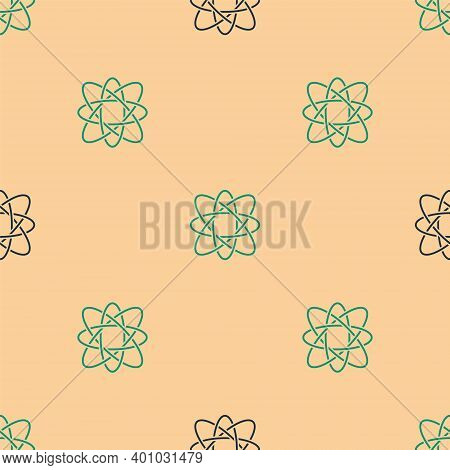 Green And Black Atom Icon Isolated Seamless Pattern On Beige Background. Symbol Of Science, Educatio