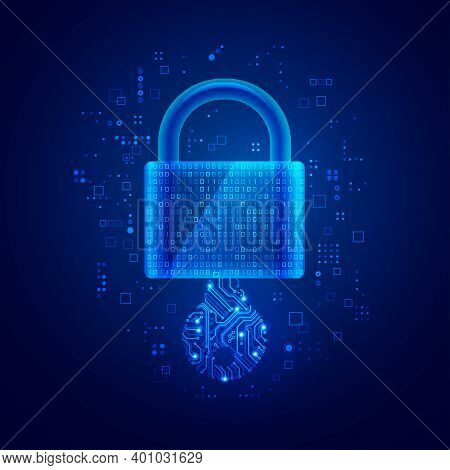 Concept Of Private Key In Cyber Security Technology, Graphic Of Lock Pad Combine With Binary Code An