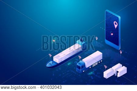 Concept Of Smart Logistics, Graphic Of Mobile Phone With Tracking Application With Transportation Ve