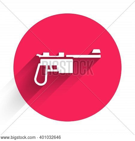 White Mauser Gun Icon Isolated With Long Shadow. Mauser C96 Is A Semi-automatic Pistol. Red Circle B