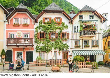 Hallstatt, Austria - June 15, 2019: Central Tourist City Square
