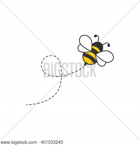 Cute Bee With Dotted Route. Flying Cartoon Bee Character. Vector Animal Insect Illustration Isolated