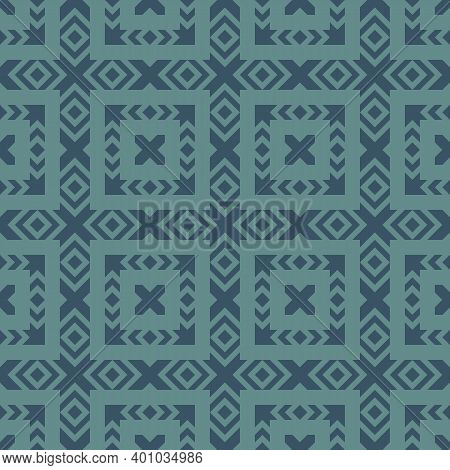 Vector Geometric Ornamental Seamless Pattern. Ethnic Tribal Style Ornament. Abstract Texture With Sq