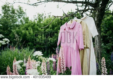 Natural Colored Dresses Hanging On On A Tree In The Garden With Lupine Flowers. Concept Organic Clot