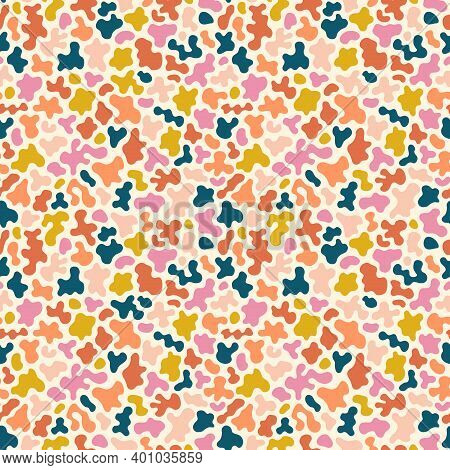 Abstract Seamless Pattern With Organic Shapes. Stylish Vector Texture With Smooth Blots, Colorful Sp