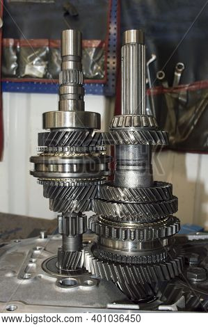 Vertical Photo Of The Primary And Secondary Shafts Of The Mechanical Transmission Of A Front-wheel D