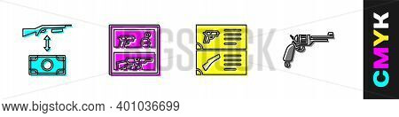 Set Buying Assault Rifle, Hunting Shop Weapon, Weapon Catalog And Revolver Gun Icon. Vector
