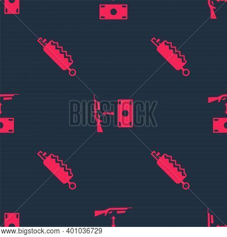 Set Trap Hunting And Buying Assault Rifle On Seamless Pattern. Vector