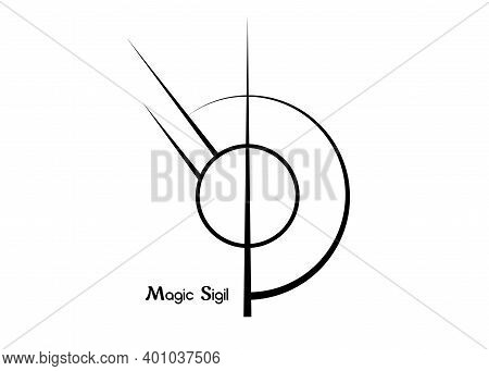 Sigil Sigil For Protection, Wiccan Symbolisms. A Stylized Image Of A Magic Symbol. Can Be Used In Gr