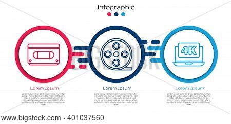 Set Line Vhs Video Cassette Tape, Film Reel And Laptop With 4k Video. Business Infographic Template.