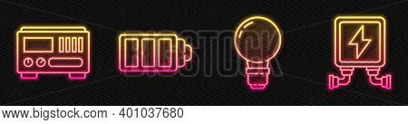 Set Line Light Bulb With Concept Of Idea, Electrical Measuring Instruments, Battery Charge Level Ind
