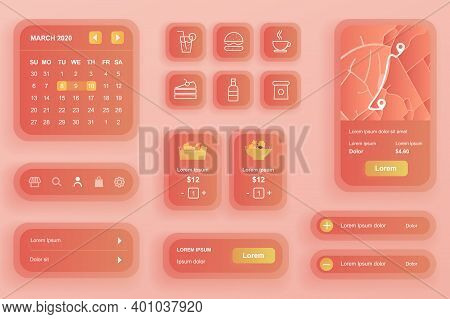Gui Elements For Food Delivery Mobile App. Online Food Order And Catering Service User Interface Gen