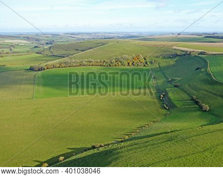 Aerial View Of The Fields At Monks Down In Wiltshire, England