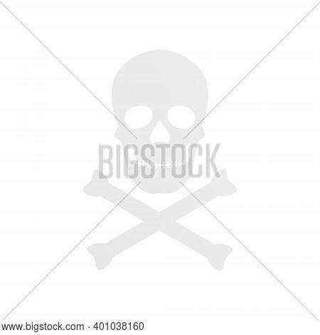 Skull With Crossed Bones Icon. Crossbones Symbol. Death Sign Print Vector Illustration Isolated On W