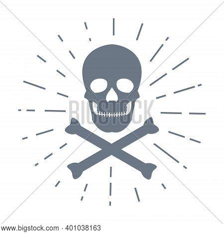 Skull With Crossed Bones Icon. Crossbones Symbol With Sunburst. Death Sign Print Vector Illustration