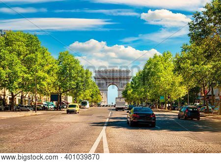 Road Of Champs Elysee Leading To Arc De Triomphe In Paris, France