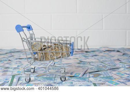 A Lot Of Money Kazakhstan Tenge. The National Currency Of Kazakhstan. Salary In Tenge. Grocery Baske