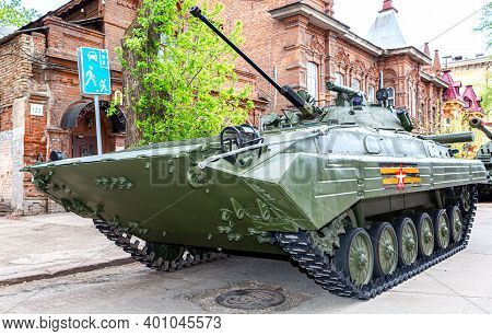 Samara, Russia - May 6, 2017: Russian Infantry Fighting Vehicle Bmp-2 During The Military Parade At