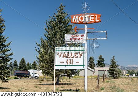 Cokeville, Wyoming - August 6, 2020: The Abandoned And Closed Valley Hi Motel Sign