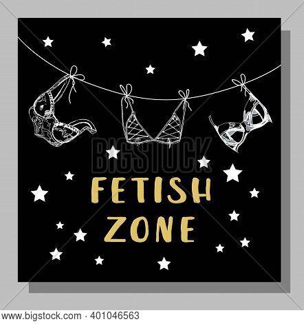 Fetish. Fetish Zone Poster. Social Media Format. Vip Party