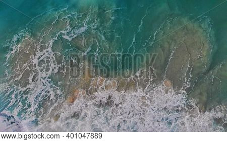 Cancun Beach Panorama View, Perfect Turquoise Ocean Water At Seaside With Waves