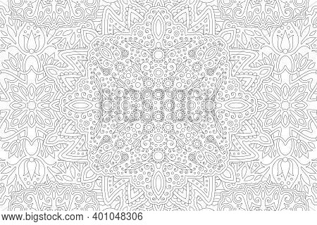 Beautiful Black And White Illustration For Adult Coloring Book With Rectangle Linear Abstract Easter