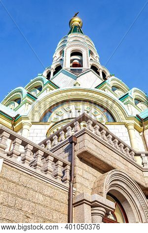 St. Sophia Cathedral Of The Wisdom Of God Against The Blue Sky In Samara, Russia