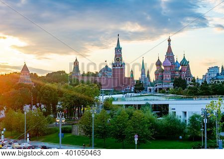 Cathedral Of Vasily The Blessed (saint Basil's Cathedral) And Towers Of Moscow Kremlin On Red Square