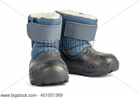 Baby Boots Isolated On White Background. Boots For Winter Season, Kid Collection, Isolated On White