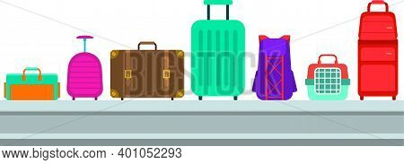 Baggage On Baggage Tape At The Airport Vector Flat Illustration