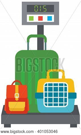 Flat Vector Illustration Of Cargo Scales Weighing Luggage
