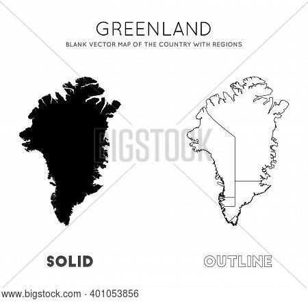 Greenland Map. Blank Vector Map Of The Country With Regions. Borders Of Greenland For Your Infograph