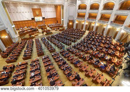Bucharest, Romania - December 23, 2020: Chamber Of Deputies Where Florin Citu The New Romanian Prime