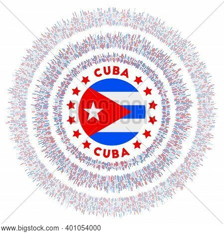 Cuba Symbol. Radiant Country Flag With Colorful Rays. Shiny Sunburst With Cuba Flag. Awesome Vector