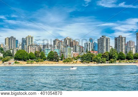 View On Vancouver Downtown With Cloudy Sky Background