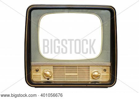 Vintage, Retro Old Television Isolated On White Background. The Old Tv On The Isolated White Backgro