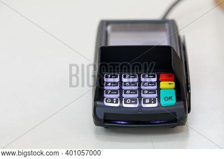 Credit Card Reader Or Pos Terminal. Payment Terminal.