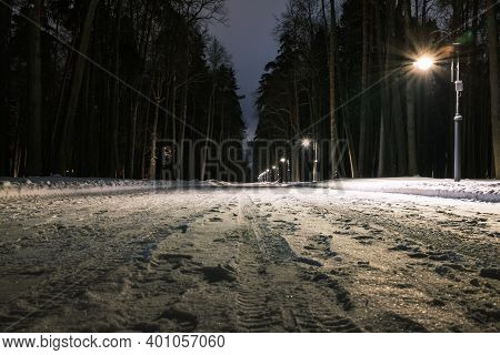 Winter Road In The Park. Snow-covered Road In The Park Illuminated By Lanterns. Path Through The Par