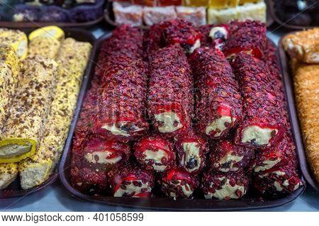 Close Up Of Khyurrem Lokum On Turkish Market