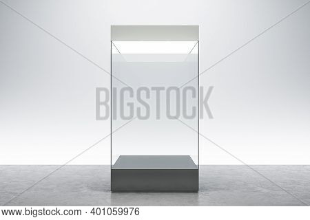 Modern Gallery Room With Empty Exhibition Glass Box. Museum And Exhibition Concept. Mock Up, 3d Rend