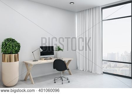 Modern Office Room With Personal Computer On Table And City View.  Workplace And Corporate Concept.